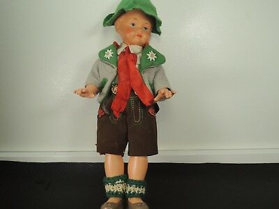 """Vintage WESTO1950's Jointed Celluloid Ethnic BAVARIA GERMAN BOY DOLL 9.5"""""""