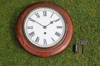 "Antique Oak Cased 8"" Smiths Empire Wall Clock"