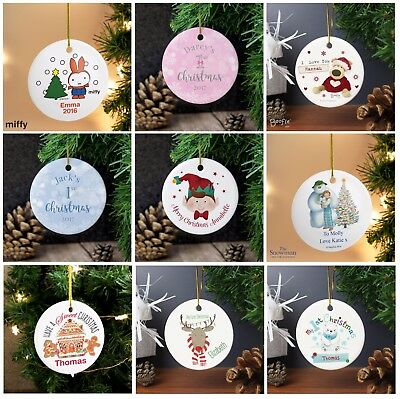 Personalised Round Christmas Hanging Tree Decorations Baubles Ceramic Gifts Idea