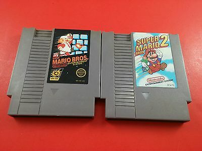 Bundle of 2 NES Games - Super Mario Bros 1 & 2 (Tested & Working)