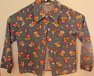 Vtg. Girls SEARS Cool Polka Dot Retro Mushrooms Shirt Blouse Top Size 6X Child's