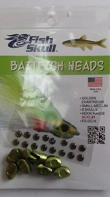 "FISH SKULL BAITFISH HEADS "" Golden Chartreuse ""  SMALL-MEDIUM"