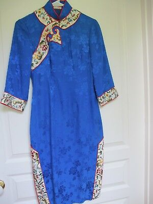 Blue Floral Chinese Cheongsam Silk  Dress With Embroidered Trim. Size S. Vgc