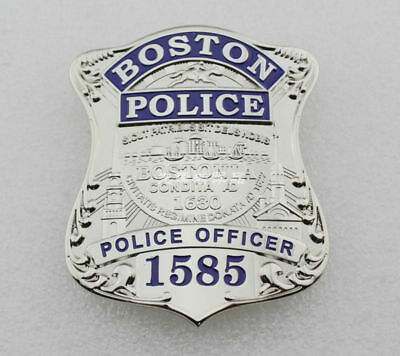 Us Boston Officer Detective 1585 Silver Badges Pin Fine Copper Emblem Real Size