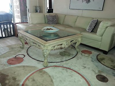 Large French Provincial Antique White Glass Top Coffee Table