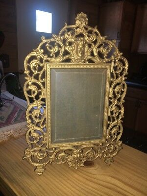 Antique  Victorian Brass Looking Cast Iron Picture Frame Ornate NB&IW