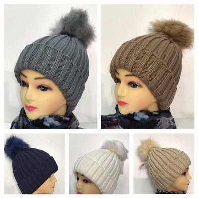 Women FAUX FUR BALL HAT POM POM FAKE FUR BEANIE  BOBBLE KNITTED WARM LADIES HAT