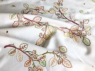 """Vintage Hand Embroidered Off White Linen """" AUTUMN LEAVES Tablecloth 50x50 Inches"""