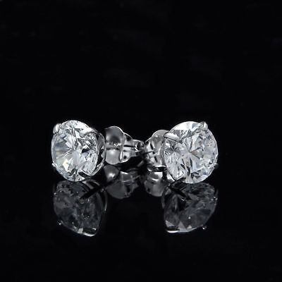 2.00 Ct Brilliant Created Diamond Solitaire Earrings 14k White Gold Over Studs
