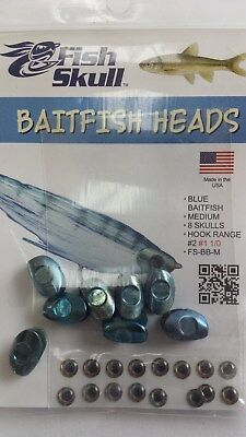 "FISH SKULL BAITFISH HEADS "" Blue Baitfish ""  MEDIUM"