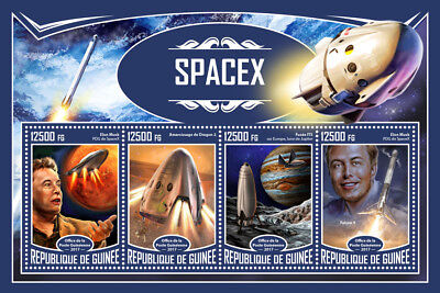 Guinea 2017 MNH SpaceX Space Travel Tourism Elon Musk Falcon 9 4v M/S Stamps