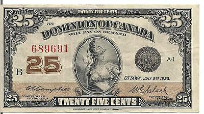 DOMINION of CANADA, 25 CENTS, 1923