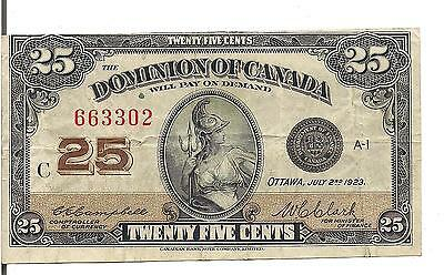 DOMINION of CANADA, 25 CENTS, 1923 ,CUTTING ERROR