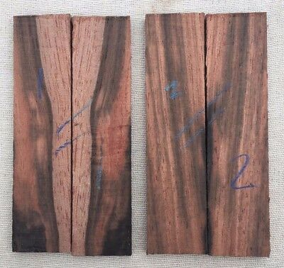 Asian striped ebony bookmatched razor scale / inlay sets