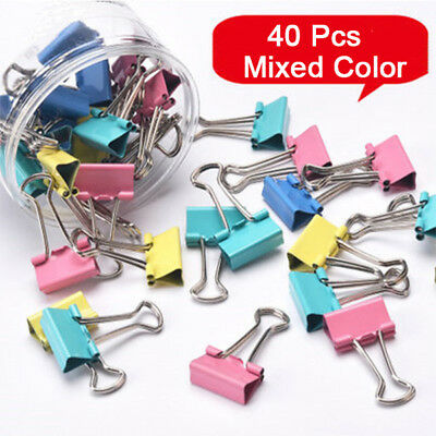 40X Colorful Metal Paper File Ticket Binder Clips Office School Stationery + Box