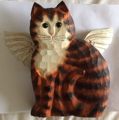 James Haddon Carved Wood Angel Cat