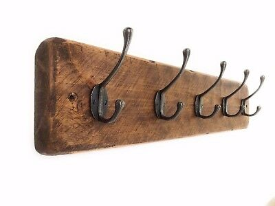 Antique Wooden Coat Rack Vintage Reclaimed Style Cast Iron Hooks Free delivery