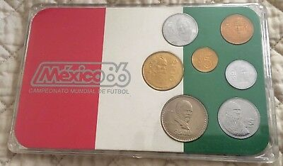 1986 Mexico 7-Piece Uncirculated Coin Set - Campeonato Mundial De Futbol