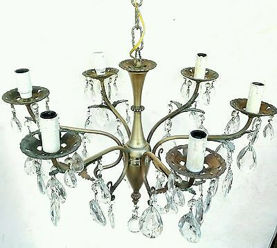 French Antique Gold Brass Crystal Drops Prisms Chandelier 6 Arm c1940