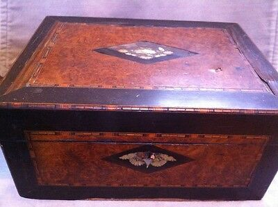 Antique French Chest, Manicure, Sewing  Box,  Document, Inlaid MOP Marquetry