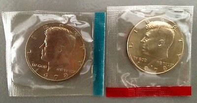 1978 P+D Kennedy Half Dollars ~ Uncirculated in Original Mint Cello