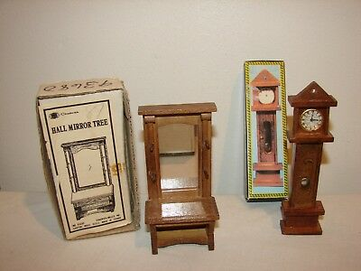 Vintage Miniature Wooden Dollhouse Furniture Chadwick Hall Mirror + Clock Boxed
