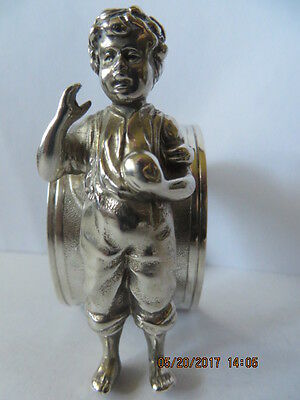 Antique SilverPlated Napkin Ring Figaral /Boy Saying Lets Play Ball stamped WM