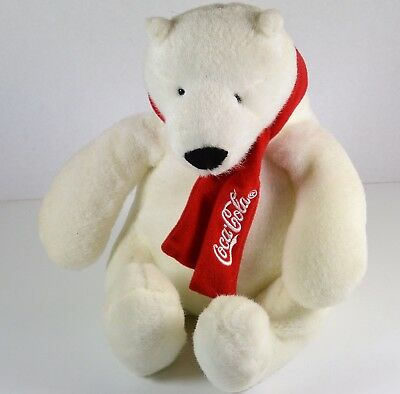 """Coca Cola White Polar Bear with Red Scarf 9.25"""" tall by Best Play"""