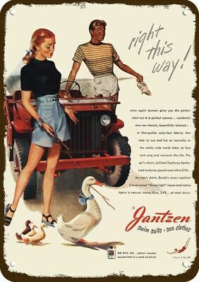 1946 JANTZEN Vintage Look Replica Metal Sign JEEP - DUCK DUCKLINGS - PORTLAND