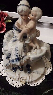 Vintage Victorian Porcelain Figurine Mother & Child - Blue & White