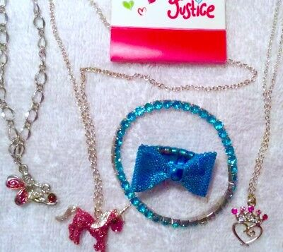 Lot Of 5! New! Justice Unicorn Glitter Necklace Princess Bracelet Bow Ring Fairy