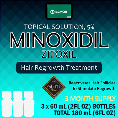 5% Minoxidil Extra Strength Men Hair Regrowth Solution 3-6-12 Month Supply