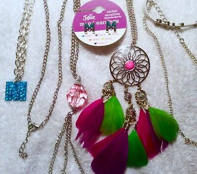 Lot Of 6! Justice Necklace Bracelet Earrings Boho Feather Charm Letter M Initial