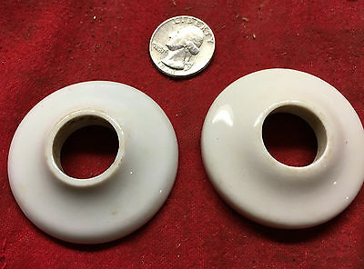 Vintage Set Of 2 Porcelain Ceramic Milk Glass Door Knob Handle Covers