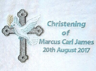 Personalised Christening Towel, cross, dove, olive branch bath size