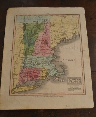 1829 Map of Eastern States (New England & Long Island) Hand Colored Antique Map