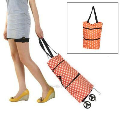 Foldable Shopping Trolley Bag Rolling Wheel Cart Tote Container Grocery Handbag