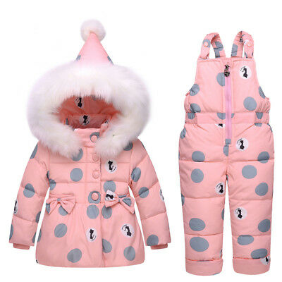 Infant Baby Snowsuit Down baby girls winter Hooded Coat +Straps Pants Cotton New
