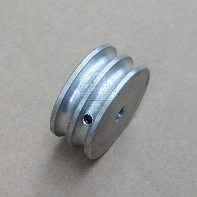 40mm Diameter - Double V-Groove Pulley Flat - 6 to 16mm Bore - Select Size