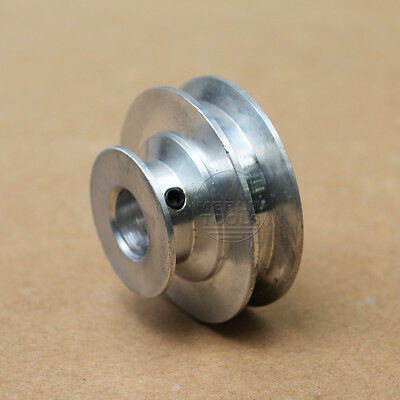 40mm Diameter V-Groove 2 Step Pulley - 5mm to 12mm Bore Select - Cast Aluminum