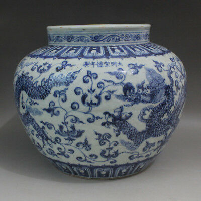 135 Rare Chinese Old Collection Blue-and-White Dragon Pattern Porcelain Pot