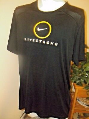 "Nike Dri-Fit Short Sleeve Athletic Shirt ""Live Strong"" Black Men's Size XXL"