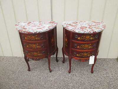58416 Pair Marble Top Louis XV Nightstand Table Stand s