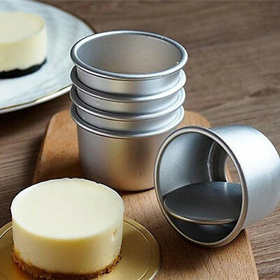 5Pcs Durable Round Mini Cake Pan Removable Bottom Pudding Mold DIY Baking Moulds