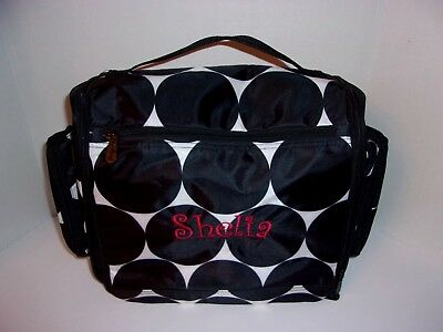 Thirty One Hanging Traveler Case Embroidered Name Shelia Black Dots