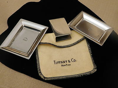 Tiffany Match Box Cover and 2 Sterling Trays - 20958 m + bag