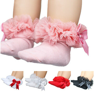 Cute Baby Kid Cotton Lace Bow Ruffle Frilly Ankle Tie Socks Princess Short Socks