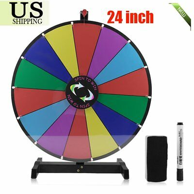 "24"" Editable Dry Erase Color Prize Wheel of Fortune Spin Game Trade Show Win L8"