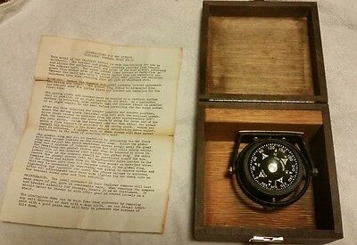 "Vintage Ritchie ""Explorer"" Compass Model#S-15 in wood box w/Orginal Instructions"