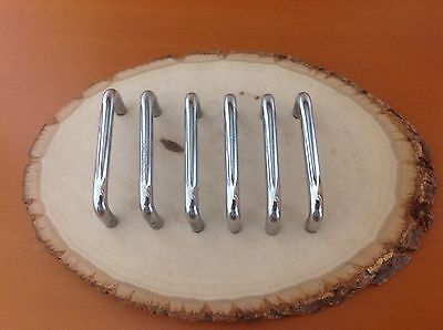 605 VTG Slim MidCentury Style Handles In A Stainless Steel. Set Of 6. Retro!